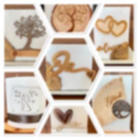 Hochzeitskerzen individuell gestaltet mit Holz, Leder, Metall usw.