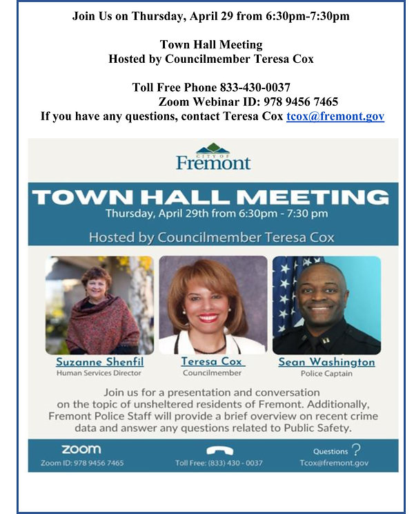 Flyer - COF Town Hall Mtg - Homeless & C