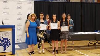 Teresa awarding Ohlone College Scholarships at Irvington High School