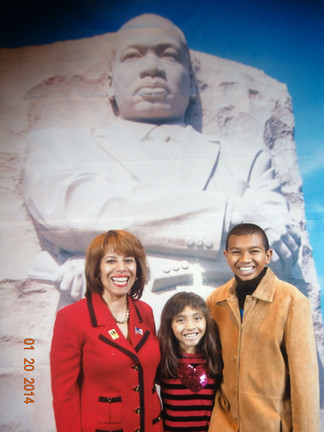 Teresa and her kids MLK monument in DC