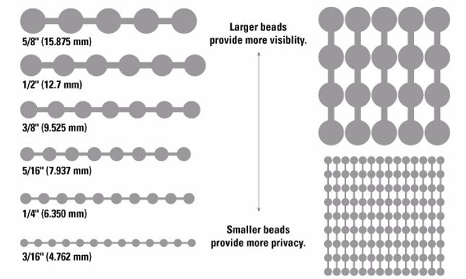 Sizig chart larger beads provie more visibilit saler beads provie more privacy.