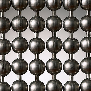 Gun metal ball chain curtins.
