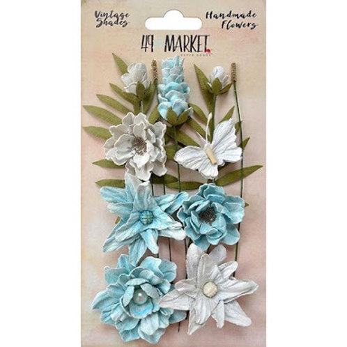 49 and Market - Handmade Flowers - Vintage Shades - Blue Cluster