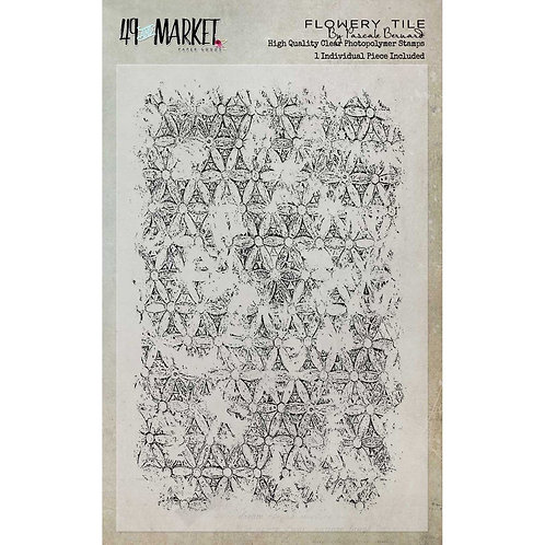 49 and market - Flowery Tile Stamp Set by Pascale Bernard (4×6)