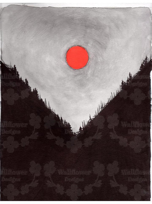 Wooded Valley with Red Moon - V