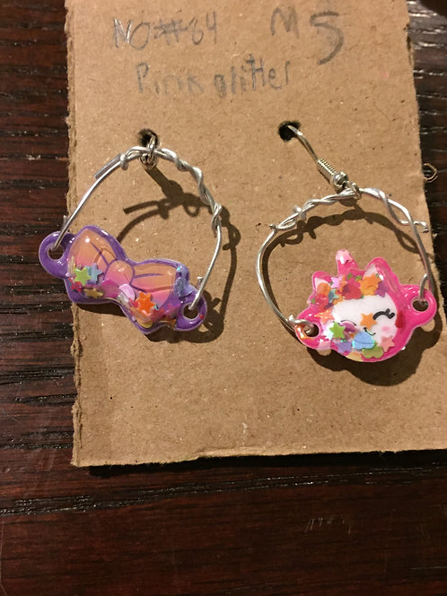 Pink Glitter Earrings