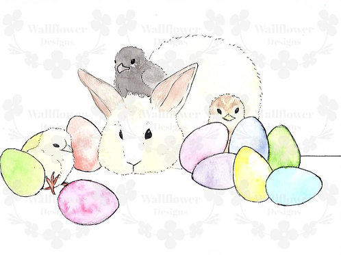 Bunny with Chickens - H