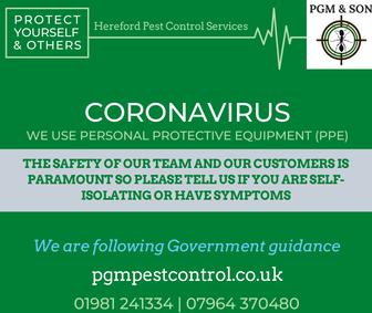 PGM & SON Hereford Pest Control Coronavi