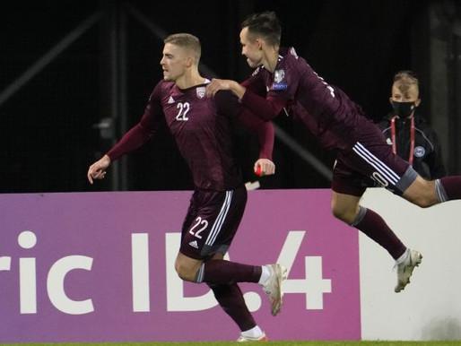 Latvijas futbola izlase svin pirmo uzvaru Pasaules Kausa kvalifikācijas ciklā