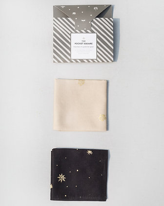 Peony & Star Pocket Square - Ivory & Black
