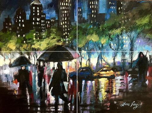 Bryant Park Rain Drops 11x17in Print