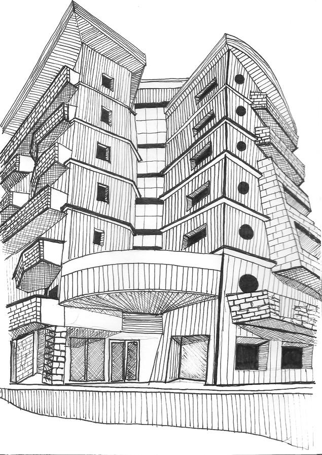 Ink Sketch   Avoriaz, France - JAN 2020