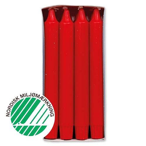 Kronelys 2,4x20 cm 8 stk. 100% ren stearin Red/Rød