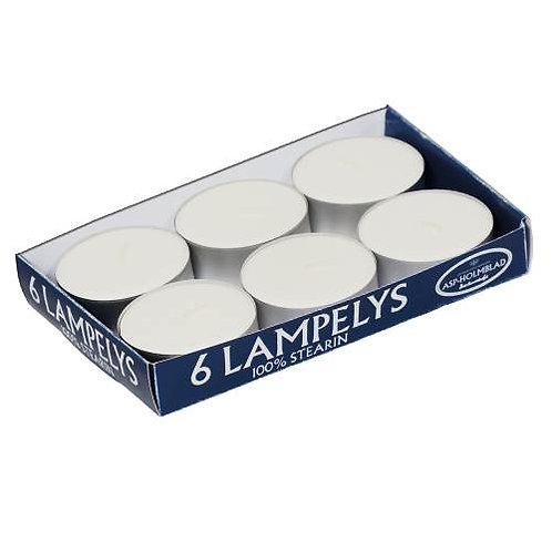 Maxi lampefyrfadslys 100% ren stearin 8 timers 6 stk.
