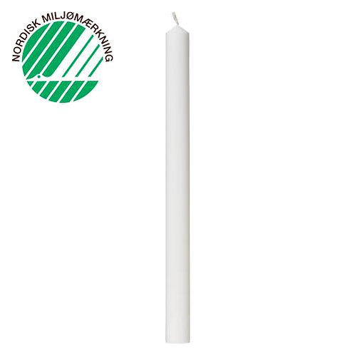 Festlys 3x39 cm hvid 100% ren stearin