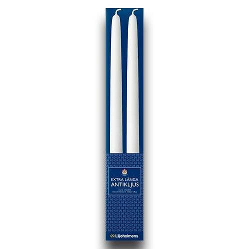 Ekstra lange antiklys 2,2 x 36 cm 2 stk. hvid 100% ren stearin