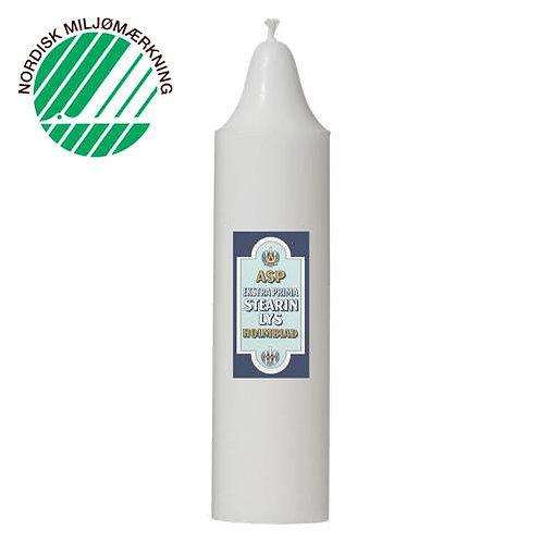 Festlys 5x20 cm hvid 100% ren stearin
