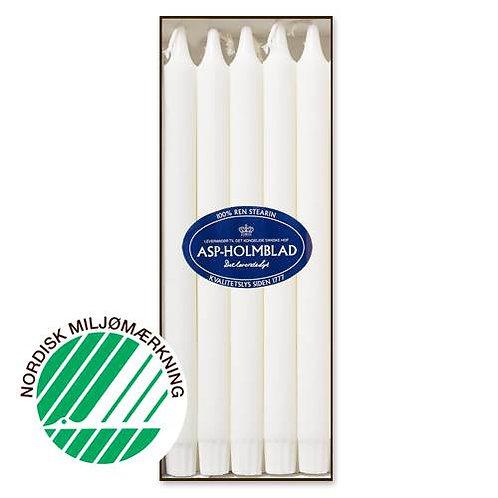 Kronelys 2,2x30 cm 10 stk. 100% ren stearin Hvid