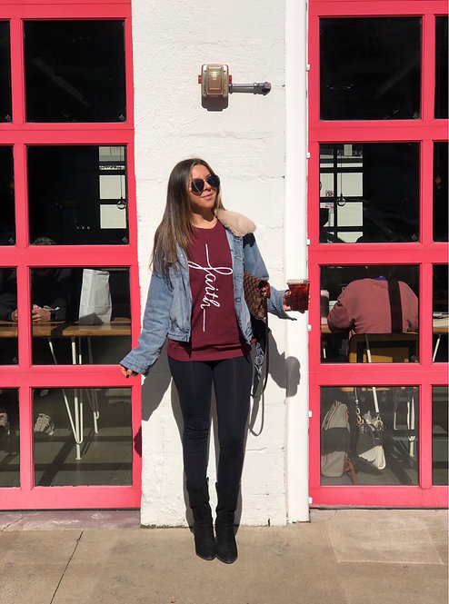 FAITH BURGUNDY GRAPHIC SWEATSHIRT