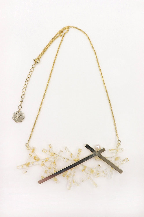 結晶ネックレス(箔入りクリア)