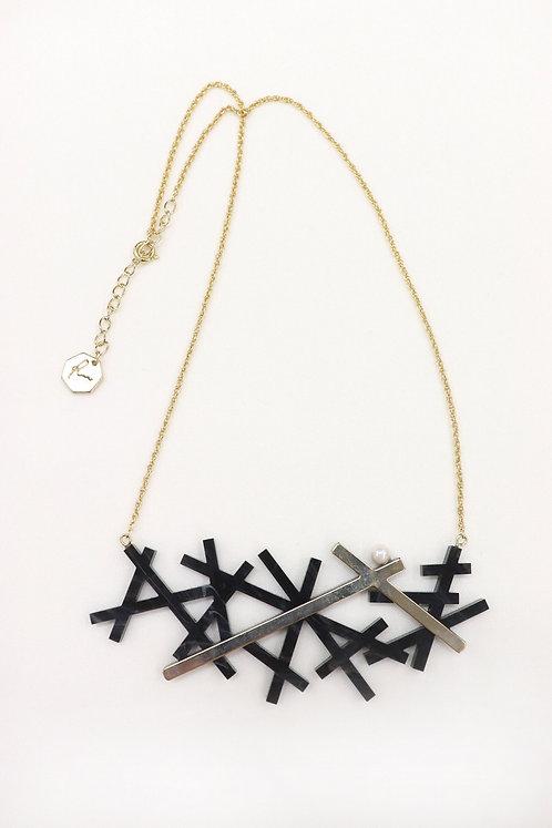 結晶ネックレス(ブラック)