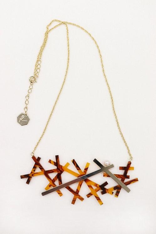 結晶ネックレス(アンバー)