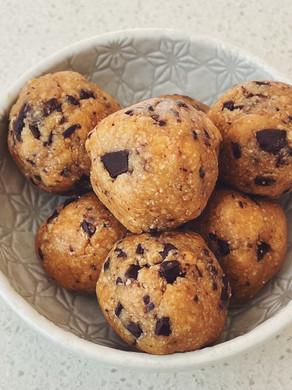 Choc Chip Cookie Dough Protein Balls.