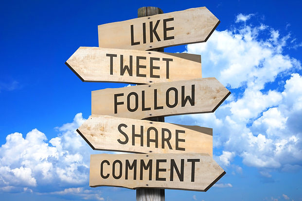 Wooden signpost - social media concept (