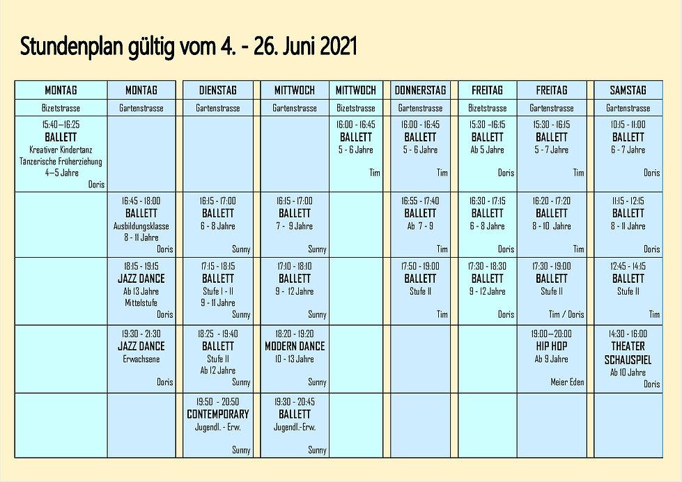 Stundenplan gültig nach Lockdown 2021.j