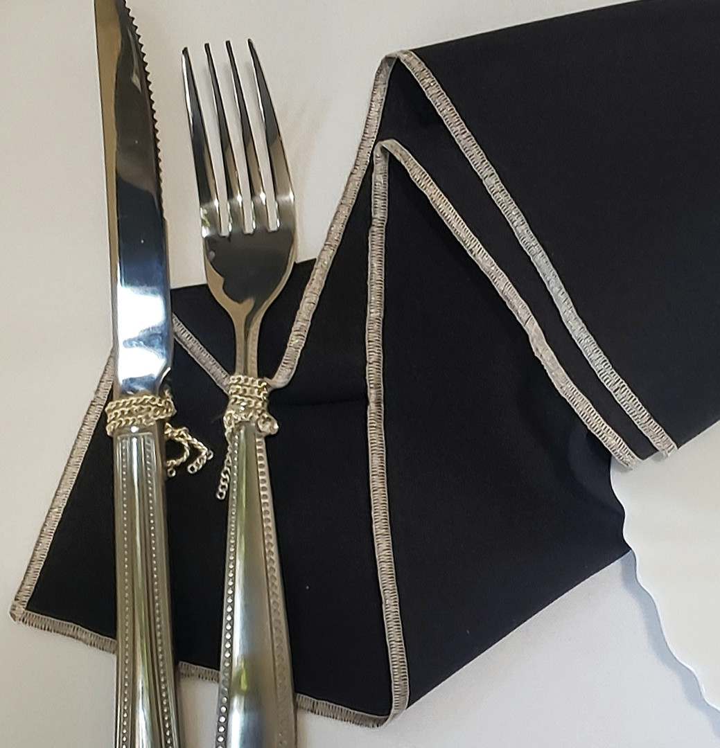 Black and Silver Polyester Napkin