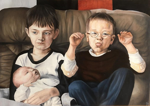 Family Portrait Commission Oil Painting Art Paint Siblings Cute Sky Portrait Artist of the Year