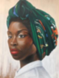 Black Colour Colourful Vibrant Headscarf Powerful Strong Portrait Portraiture Oil Painting Paints