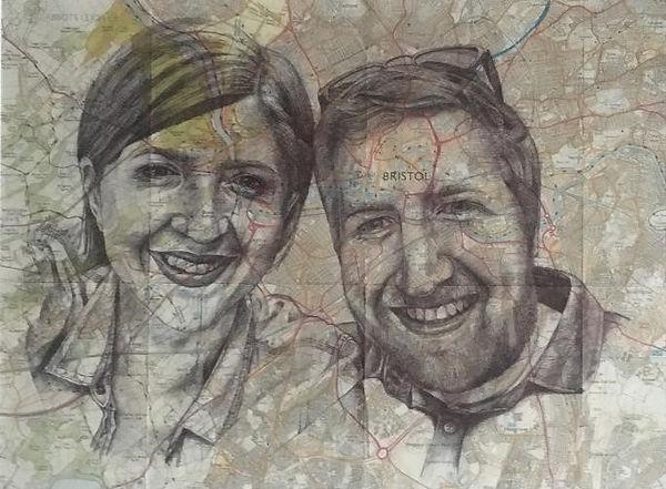 Bristol Map Art Biro Sky Portrait Artis of the Year Portrait Artist Moving In Present New Home Commission