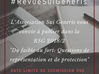 Appel à contributions RSG : Du faible au fort : questions de représentation et de protection