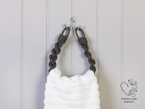 Charcoal Grey Chunky Braided Rope Hand Towel Holder - Towel Rail