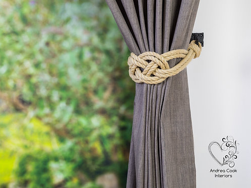 Large Beige Carrick Bend Knot Curtain Tiebacks, Tie Back, Holdback, Hold backs