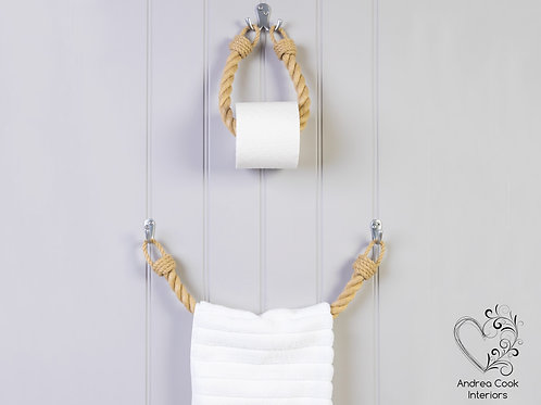 Set of Chunky Beige Rope Toilet Roll Holder and Towel Rail