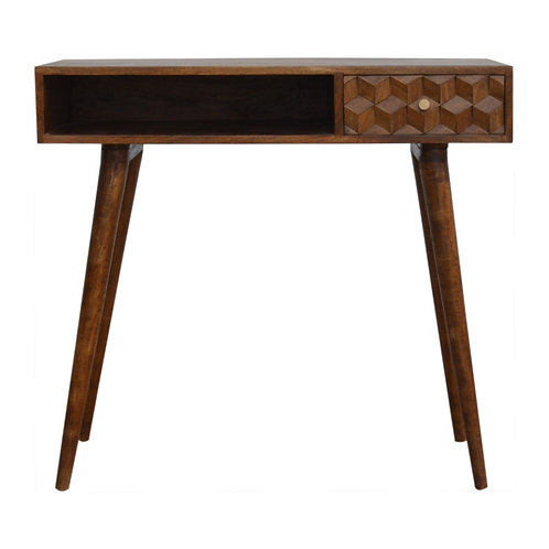 Chestnut Cube Carved Writing Desk