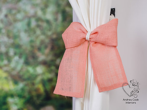 Ivory White Rope With Salmon Pink Burlap Bow Tieback, Curtain Holdback