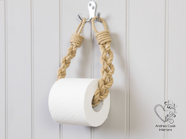 chunky beige rope toilet roll holder