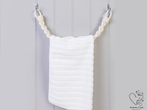 Chunky Ivory White Braided Rope Towel Rail -  Nautical Rope Towel Holder