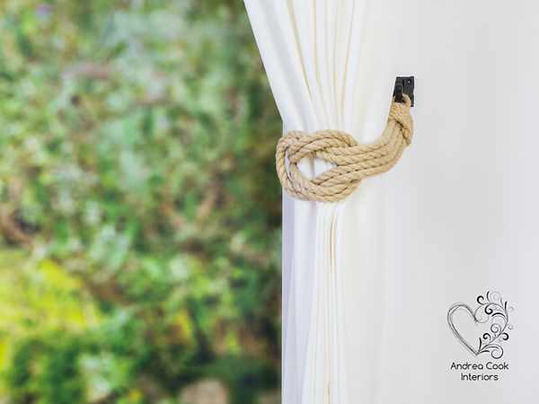 beige double suare rope curtain tieback