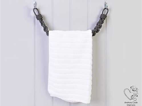 Chunky Braided Charcoal Grey Rope Towel Rail -  Nautical Rope Towel Holder