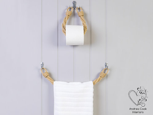 Set of Twisted Beige Rope Toilet Roll Holder and Twisted Beige Rope Towel Rail