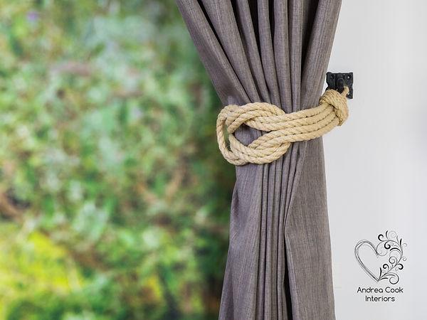 Beige rope curtain tieback