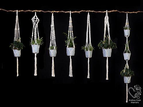 Set of 7 Macrame Plant Pot Hangers - Flower Pot Hanger, Plant Hanger