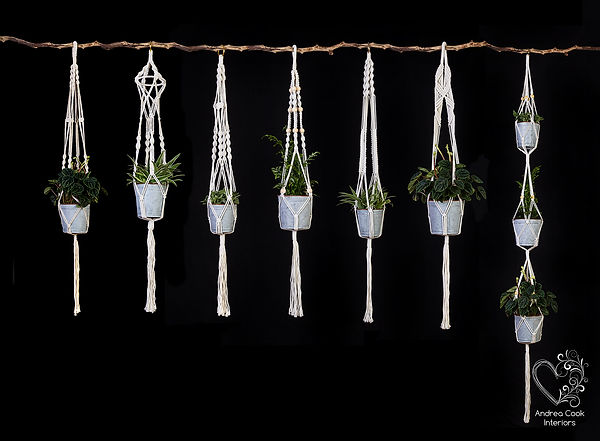 Group of macrame plant pot hangers