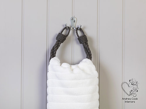 Charcoal Grey Twisted Rope Hand Towel Holder - Towel Rail