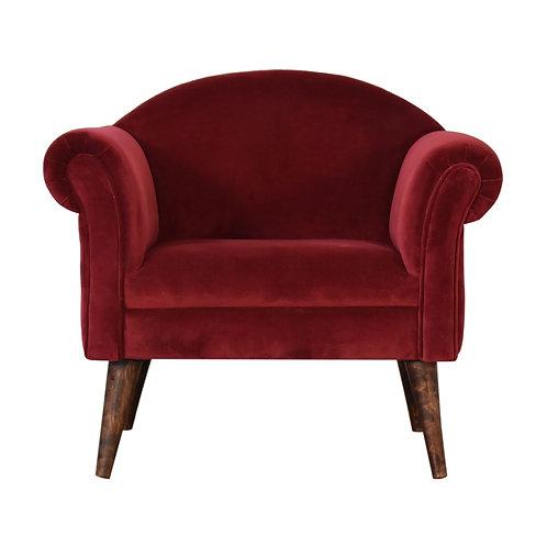 Wine Red Velvet Nordic Style Armchair