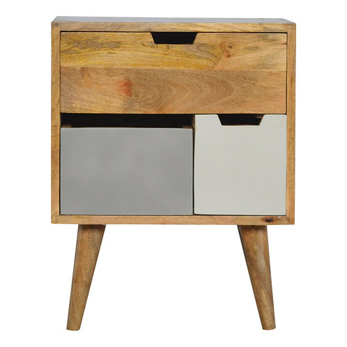 White and Grey Painted Bedside Table with Removable Drawers